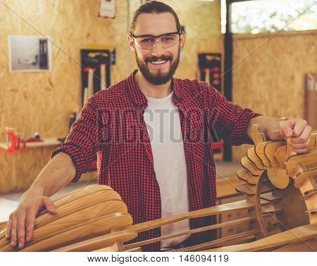 Handsome Carpenter Working