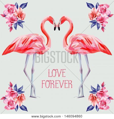 Slogan love forever on the background composition of rose and pink flamingos in form of heart hand drawn watercolor. Floral vector card