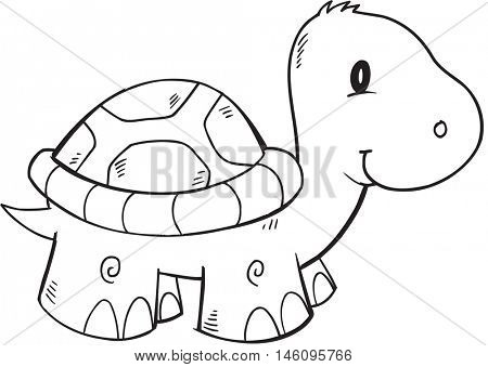 Doodle Turtle Vector Illustration Art