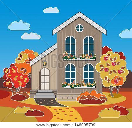 Fall Season. Autumn Landscape. Cute House, Apple Garden. Cartoon Exterior.