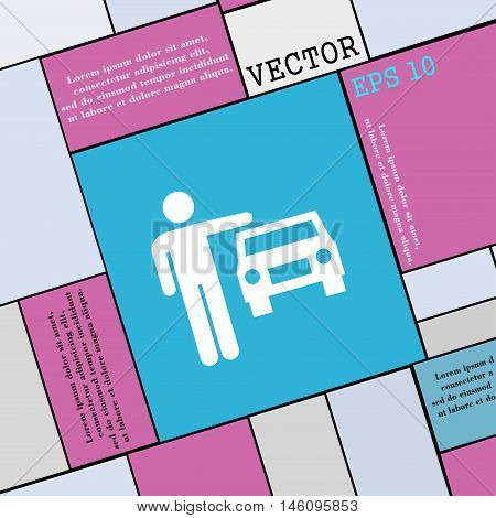 Person Up Hailing A Taxi Icon Sign. Modern Flat Style For Your Design. Vector