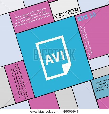 Avi Icon Sign. Modern Flat Style For Your Design. Vector