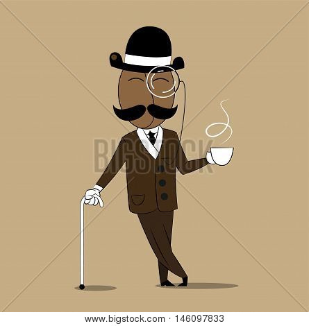 Cheerful cartoon coffee character bean with mustache dressed in retro fashion holding mug with hot coffee. Vector