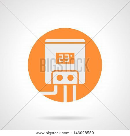 Abstract white silhouette sign of home water heating tank. Electric boiler, equipment and components of heated floor system. Orange round flat style vector icon.