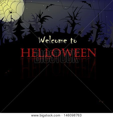 Halloween background foggy night scary forest, card