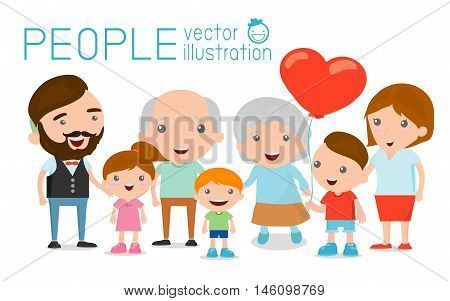 big Family group portrait parents grandparents and children, Happy cartoon family,