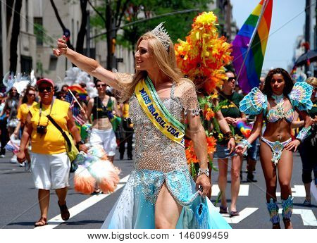 New York City - June 30 2007: Miss Brasil leads the Brazilian contingent of marchers at the 2007 Gay Pride Parade on Fifth Avenue