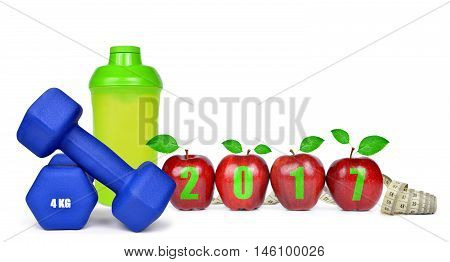 Red apples, dumbbells and protein shaker isolated on white. Healthy resolutions for the New Year 2017
