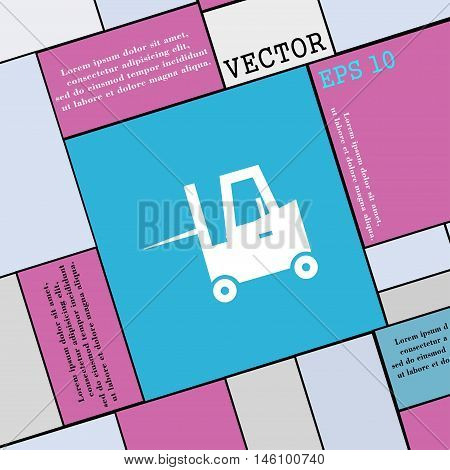 Forklift Icon Sign. Modern Flat Style For Your Design. Vector