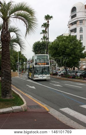 Cannes, France - July 1 2012. Bus 8 should be on your itinerary. A good opportunity to spend a tour