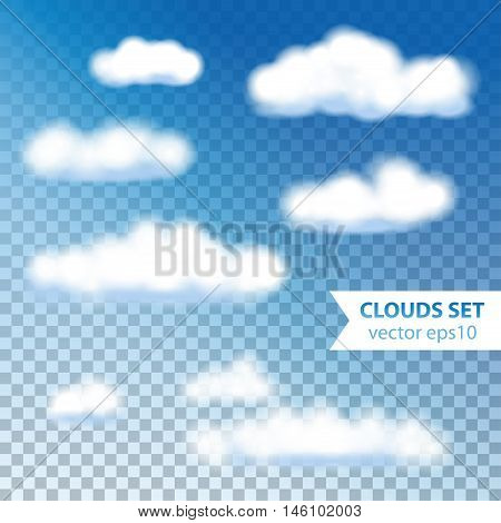 Fluffy White Clouds on Blue sky. Transparent objects.