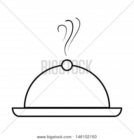 restaurant  metal platter catering waiter  service. silhouette vector illustration