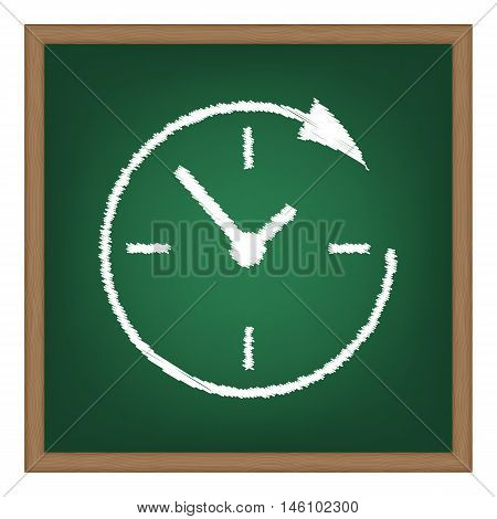 Service And Support For Customers Around The Clock And 24 Hours. White Chalk Effect On Green School