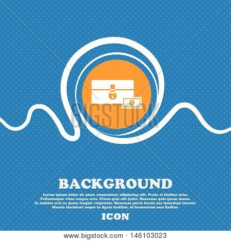 Chest Icon Sign. Blue And White Abstract Background Flecked With Space For Text And Your Design. Vec