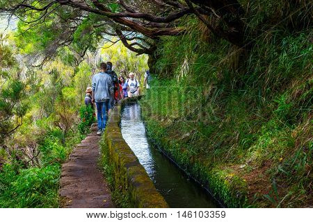Madeira, Portugal 04 July, 2016: Unidentified People Walking To Levada Risco, Madeira Island, Portug