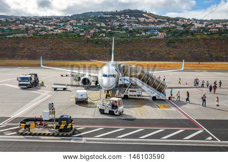 Funchal, Madeira - July 6, 2016: Enter Air Boeing 737 At Funchal Cristiano Ronaldo Airport, Boarding