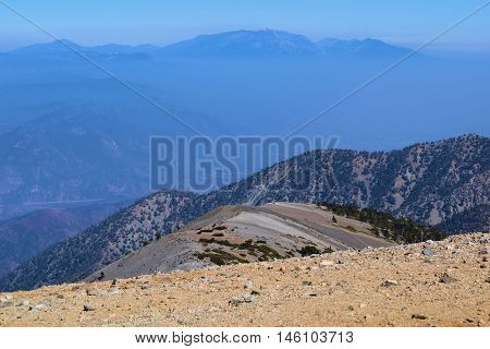 Rocky landscape taken at the summit of Mt Baldy, CA which has amazing views of Southern California