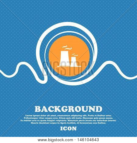 Atomic Power Station Icon Sign. Blue And White Abstract Background Flecked With Space For Text And Y