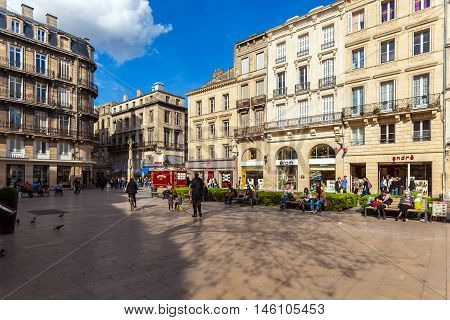 Bordeaux, France - April 4, 2011: French People Walking At Streets Of Old City