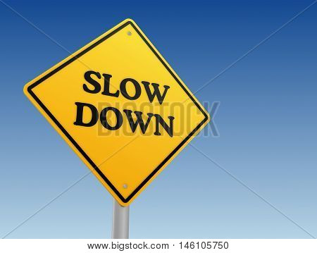 slow down yellow road sign 3d concept illustration
