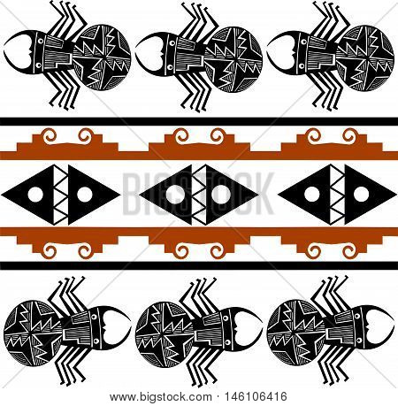 Spider. Ethnic pattern of American Indians: the Aztecs, the Mayans, the Incas.  Vector illustrations