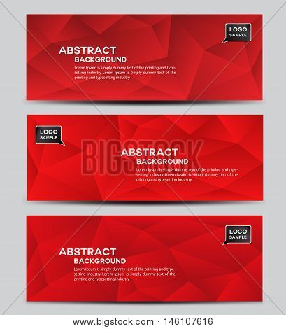 Red banner design vector polygon background Abstract background corporate business banner template