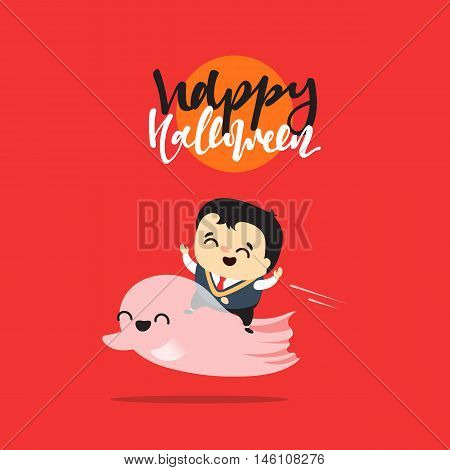 Funny cartoon schoolboy character and ghosts. Doodle cute characters for holiday happy Halloween. Children and mythical creatures. Icon Isolated vector illustration
