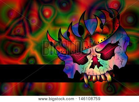 Psychedelic Colors Evil Vampire Skull Wearing Crown