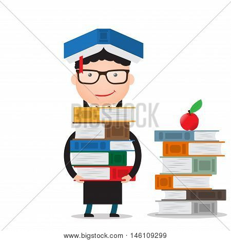 the student stands and holds a large bundle of books, standing next to a stack of books on the floor.