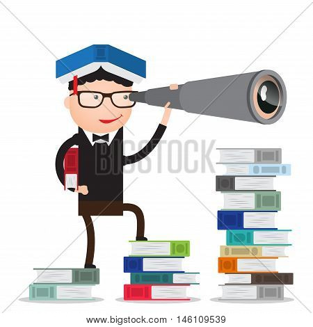 graduate is on the books and looks forward through the telescope. infographic, people, search, education