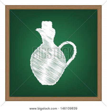 Amphora Sign Illustration. White Chalk Effect On Green School Board.