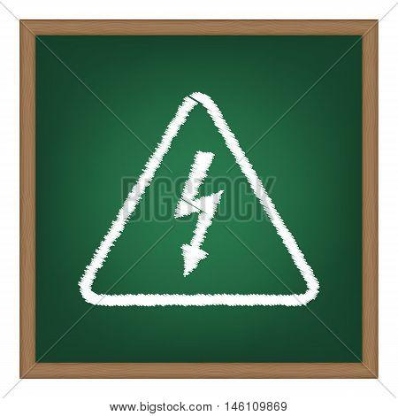 High Voltage Danger Sign. White Chalk Effect On Green School Board.