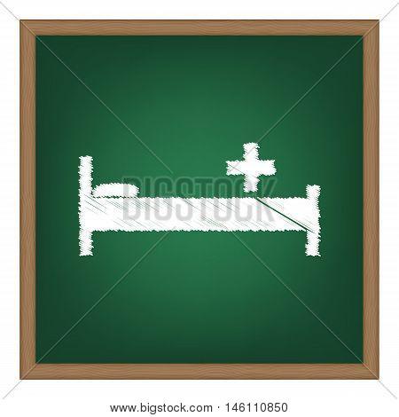 Hospital Sign Illustration. White Chalk Effect On Green School Board.