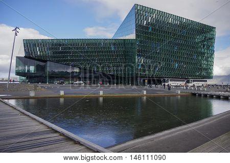 REYKJAVIK, ICELAND - September 2, 2014: Harpa Concert Hall in Reykjavik harbor Iceland