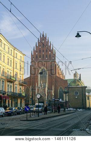 Krakow, Poland -January 5, 2011: Corpus Christi Church (Kosciol Bozego Ciala)