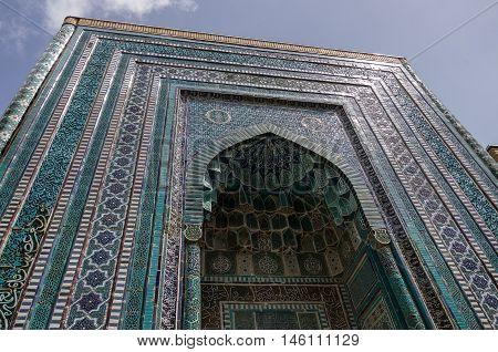 Samarkand, Uzbekistan - April 26, 2015: Ornament of tomb in Shah-I-Zinda memorial complex necropolis in Samarkand Uzbekistan. UNESCO World Heritage