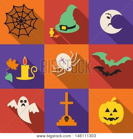 Halloween vector icons set in a flat design with long shadow . Pumpkin head halloween hat bat ghost . Cartoon halloween icons set halloween silhouette for halloween party.