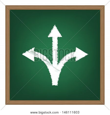 Three-way Direction Arrow Sign. White Chalk Effect On Green School Board.
