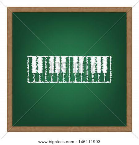 Piano Keyboard Sign. White Chalk Effect On Green School Board.