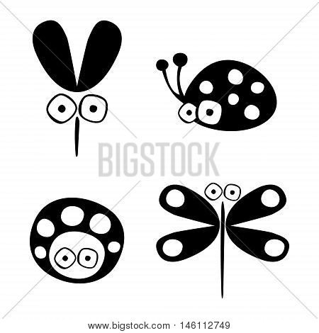 Vector black and white set of hand drawn ladybug mosquito and dragonfly isolated on the white background