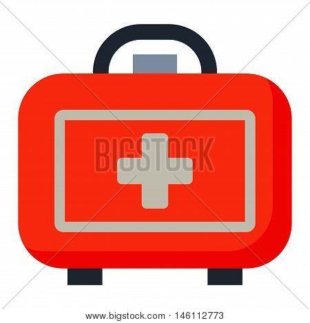 Safety car medical kit set isolated on white background. Car medical kit vector and health car medical kit design. Healthcare ambulance icon case safety car medical kit. Transportation warning care.