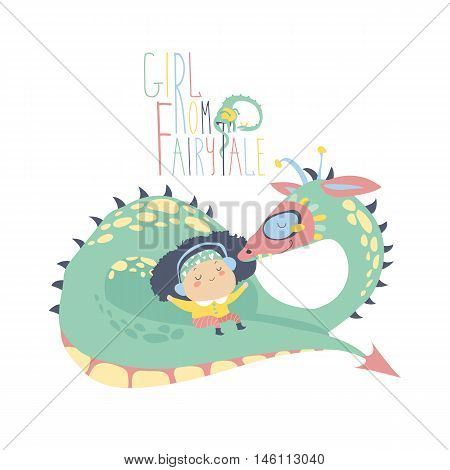 Cute girl sitting on the back of a dragon. Vector illustration