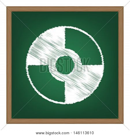 Vector Cd Or Dvd Sign. White Chalk Effect On Green School Board.