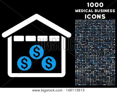 Money Depository raster bicolor icon with 1000 medical business icons. Set style is flat pictograms, blue and white colors, black background.