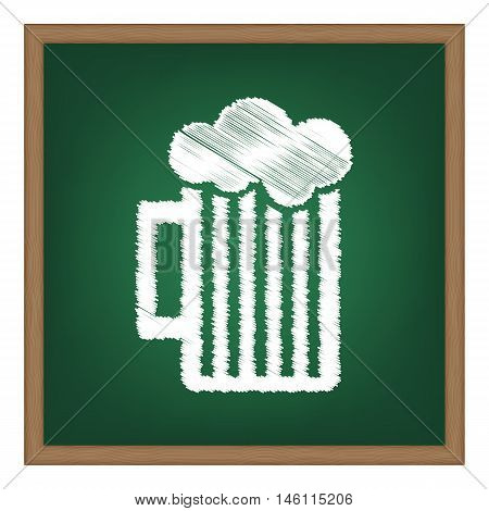 Glass Of Beer Sign. White Chalk Effect On Green School Board.