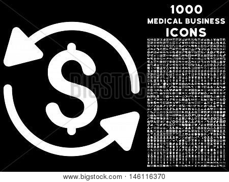 Money Turnover raster icon with 1000 medical business icons. Set style is flat pictograms, white color, black background.