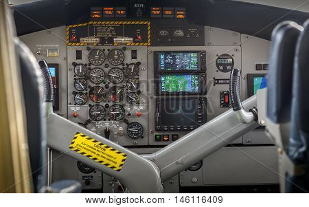Internal view of small planes cocpit closeup