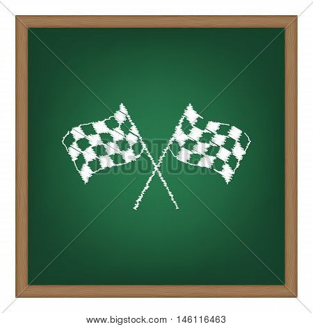 Crossed Checkered Flags Logo Waving In The Wind Conceptual Of Motor Sport. White Chalk Effect On Gre