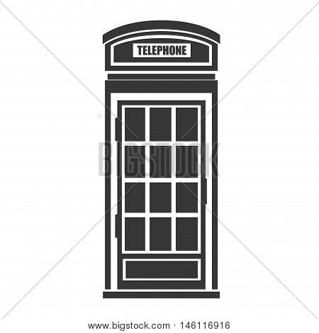 red british telephone cabin. london symbol. silhouette vector illustration