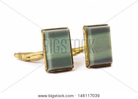 Vintage stone cuff links on the white